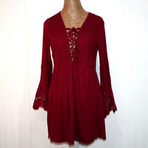 EN CREME Boho Lace Bell Sleeve Burgundy Dress